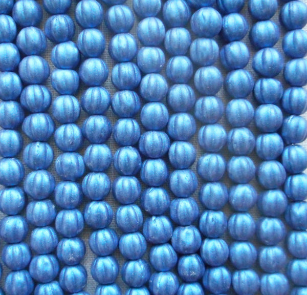 Fifty 5mm Matte Metallic Suede Blue melon beads, Czech pressed glass beads C0950 - Glorious Glass Beads