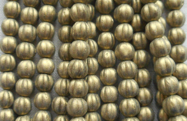Fifty 5mm Matte Metallic Suede Gold glass melon beads, Czech pressed glass beads C0950 - Glorious Glass Beads