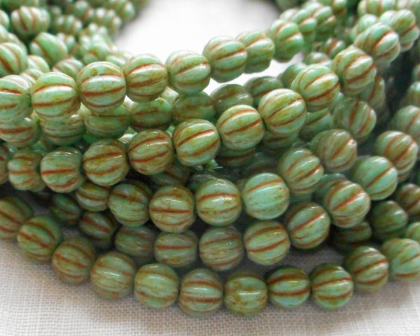 Fifty 5mm Opaque Turquoise Picasso melon beads, pressed Czech glass beads C8750 - Glorious Glass Beads