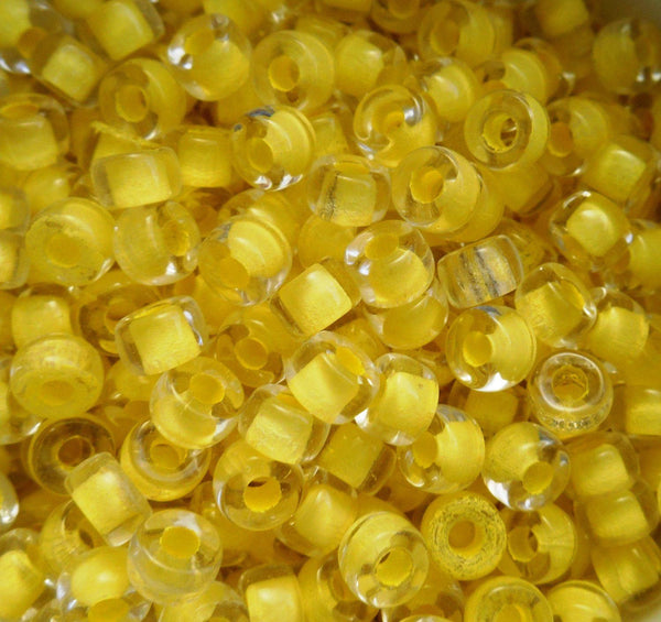 Fifty 6mm Czech glass crystal yellow lined pony roller beads, large hole crow beads, C4750