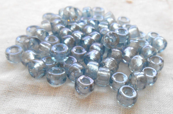 Supplies - Fifty 6mm Czech Iridescent Lumi Blue Glass Pony, Roller Beads, Large Hole Crow Beads, C1550