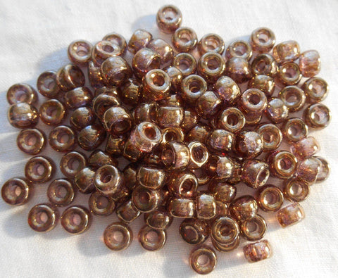 Supplies - Fifty 6mm Czech Lumi Brown Glass Pony Roller Beads, Large Hole Crow Beads, C1550
