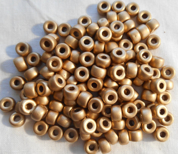 Fifty 6mm Czech Matte Metallic Gold glass pony roller beads, large hole crow beads, C6450 - Glorious Glass Beads