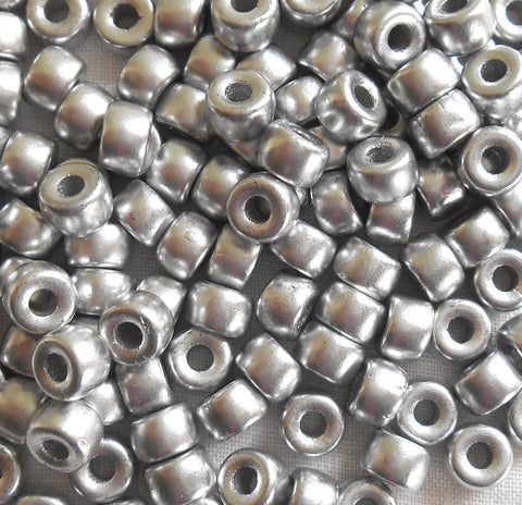 Fifty 6mm Czech Matte Metallic Silver pony roller beads, large hole glass crow beads, C2650 - Glorious Glass Beads