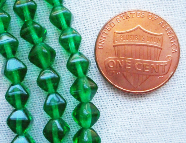 Supplies - Fifty 6mm Emerald Green Bicones, Pressed Glass Czech Bicone Beads C5501