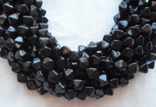 Supplies - Fifty 6mm Jet Black Bicones Pressed Glass Czech Bicone Beads, C7450