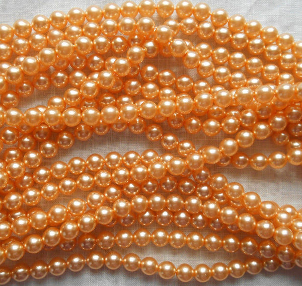 Supplies - Fifty 6mm Light Orange Glass Pearl Druk Beads, Preciosa Czech Round, Smooth Glass Pearls, C0650