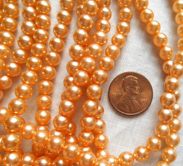 Fifty 6mm light orange glass pearl druk beads, Preciosa Czech round, smooth glass pearls, C0650 - Glorious Glass Beads