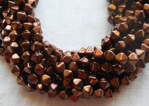 Supplies - Fifty 6mm Luster Dark Bronze Bicones, Metallic Brown Pressed Glass Czech Bicone Beads C0001
