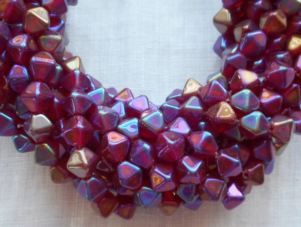 Fifty 6mm Luster Iris Garnet bicones, Iridescent red pressed glass Czech bicone beads C8601 - Glorious Glass Beads