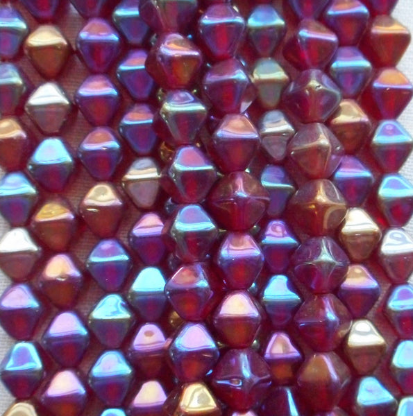 Supplies - Fifty 6mm Luster Iris Garnet Bicones, Iridescent Red Pressed Glass Czech Bicone Beads C8601