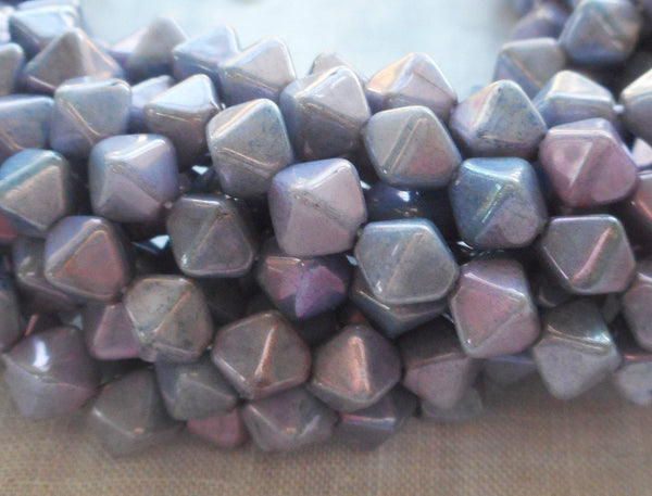 Supplies - Fifty 6mm Luster Opaque Amethyst Lavender Bicones, Purple Pressed Glass Czech Bicone Beads C8601