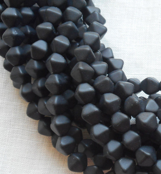 Supplies - Fifty 6mm Matte Black Bicones, Pressed Glass Czech Bicone Beads C7401