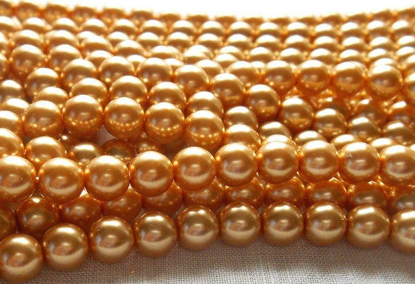 Fifty 6mm Preciosa Czech gold glass pearl druk beads, C5750 - Glorious Glass Beads