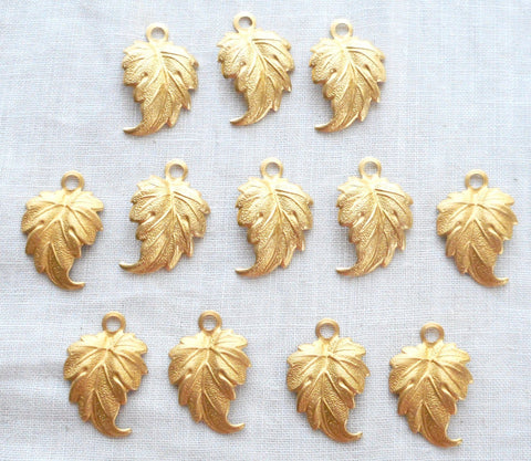 "Supplies - Lot Of 12 Leaf Pendants, Charms, Raw Brass Stampings, With Ring .75"" In By .50"" In. Made In The USA, 4401"