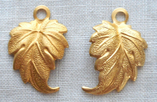 "Lot of 12 leaf pendants, charms, raw brass stampings, with ring .75"" in by .50"" in. made in the USA, 76301 - Glorious Glass Beads"