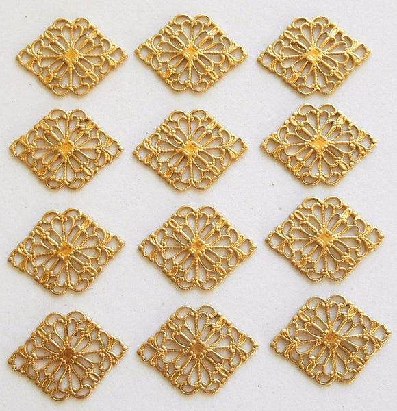 Supplies - Lot Of 12 Raw Brass Stamping Diamond, Oval Filigree Connectors, 21 X 15mm, Made In The USA, C6101