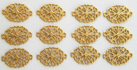 Supplies - Lot Of 12 Raw Brass Stamping Oval Filigree Connectors, 19 X 12mm, Made In The USA, C5101
