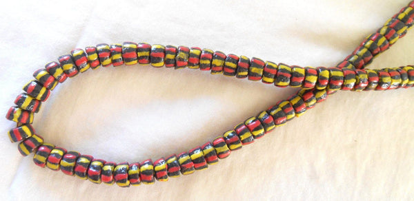 Supplies - Lot Of 124 African Trade Beads Made In Ghana, Brown Beads With Yellow And Orange Stripes, 000101