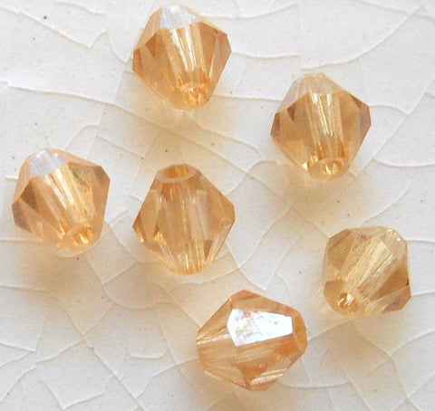Lot of 20 4mm Czech Preciosa Crystal Lumi glass faceted tan luster bicone beads, C4520 - Glorious Glass Beads