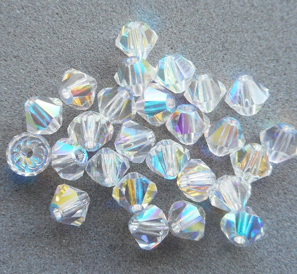 Lot of 24 4mm Czech Crystal AB glass faceted bicone beads, Preciosa Crystal AB bicones 3501 - Glorious Glass Beads
