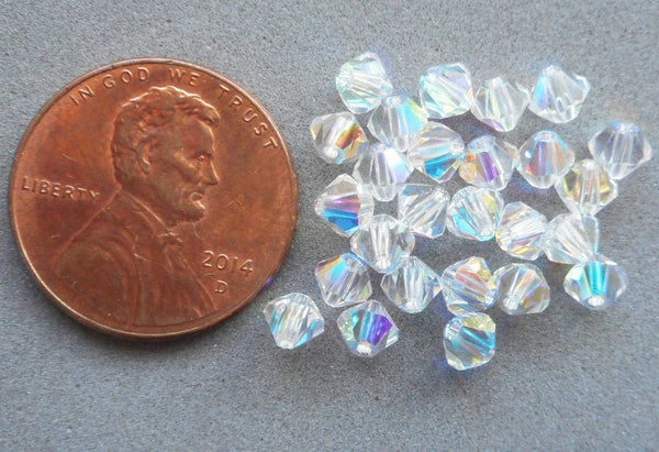 Supplies - Lot Of 24 4mm Czech Crystal AB Glass Faceted Bicone Beads, Preciosa Crystal AB Bicones 3501