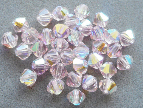 Supplies - Lot Of 24 4mm Czech Light Rose Pink AB Glass Faceted Bicone Beads, Preciosa Crystal Pink AB Bicones 5601