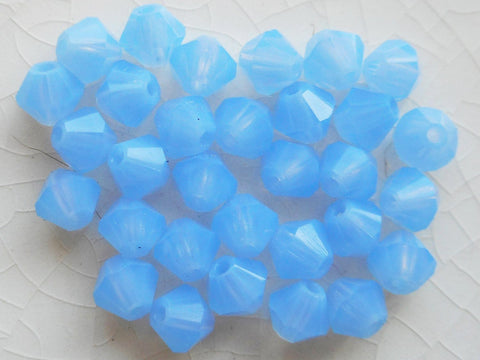 Supplies - Lot Of 24 4mm Czech Milky Blue Glass Faceted Bicone Beads, Preciosa Crystal Blue Bicones 2501