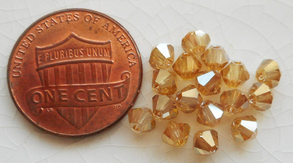 Supplies - Lot Of 24 4mm Golden Flare Gold Metallic Czech Preciosa Crystal Bicone Beads, Faceted Gold Glass Bicones C3501