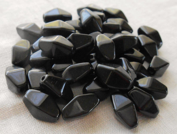 Lot of 25 11mm x 7mm Opaque Jet Black Czech glass lantern or tube beads, C8025 - Glorious Glass Beads