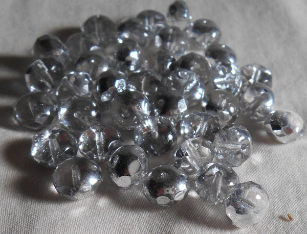 Supplies - Lot Of 25 6 X 9mm Czech Glass Silver Crystal Faceted Puffy Rondelle Beads, C5925