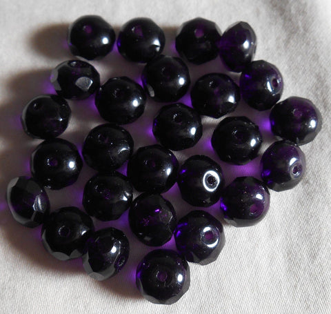 Lot of 25 6 x 9mm Deep Purple, Violet puffy rondelle beads, firepolished, faceted Czech glass beads C2725 - Glorious Glass Beads