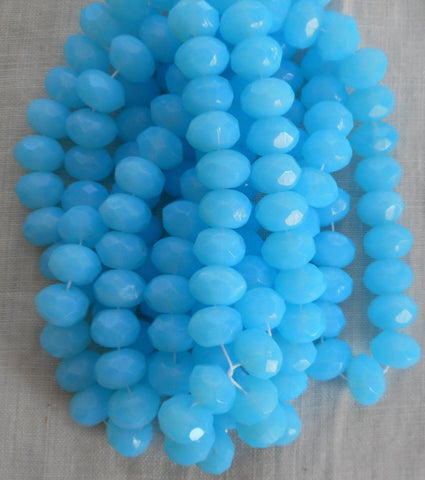 Supplies - Lot Of 25 6 X 9mm Opaque Milky Powder Blue Faceted Czech Glass Puffy Rondelle Beads, C11125