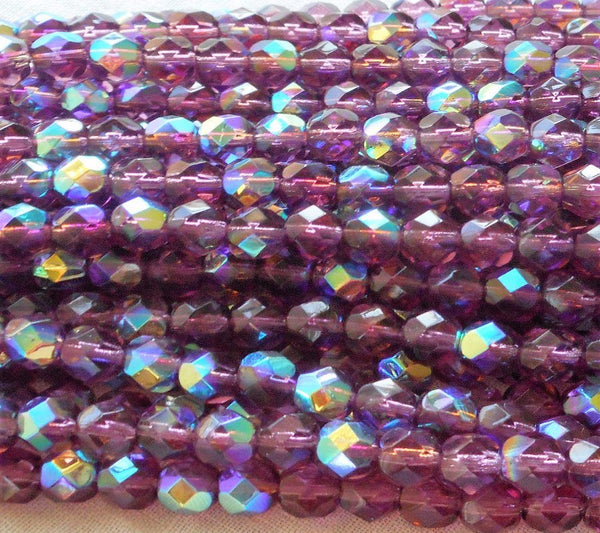Supplies - Lot Of 25 6mm Amethyst AB, Purple, Czech Glass Firepolished Faceted Round Beads C8401