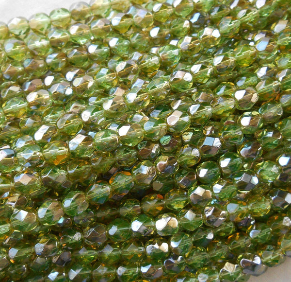 Lot of 25 6mm Czech Chrysolite Celsian Green glass, round faceted firepolished beads, C7425
