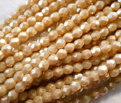 Supplies - Lot Of 25 6mm Czech Glass Beads, Opaque, Off White, Luster Iris, Firepolished, Faceted Round Beads, C1825