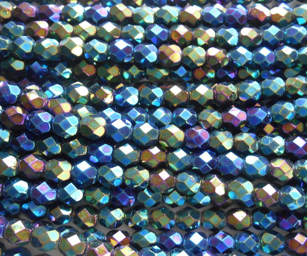 Supplies - Lot Of 25 6mm Iris Green Czech Glass, Firepolished, Faceted Round Beads, C6425