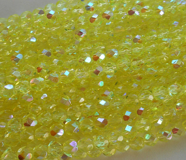 Lot of 25 6mm Jonquil AB Czech glass, yellow firepolished, faceted round beads, C3525 - Glorious Glass Beads