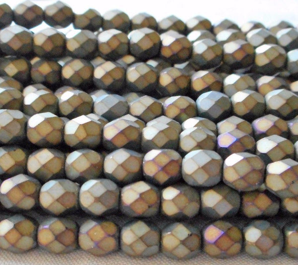Supplies - Lot Of 25 6mm Matte Brown Iris Beads, Faceted, Round, Firepolished Czech Glass Beads C6401