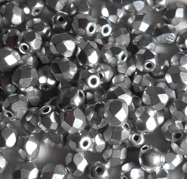 Lot of 25 6mm Matte Silver Czech glass, firepolished, faceted round beads, C0525