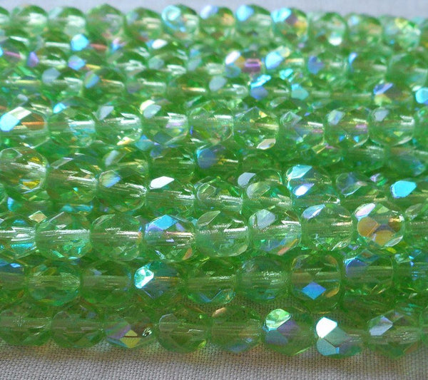Lot of 25 6mm Peridot Green AB Czech Glass beads, firepolished faceted round glass beads C8401 - Glorious Glass Beads