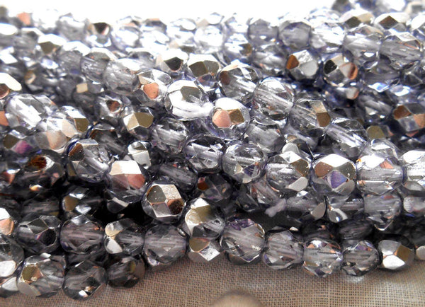 Lot of 25 6mm Violet Silver Mirror AB faceted round firepolished Preciosa Czech glass beads, 2725 - Glorious Glass Beads
