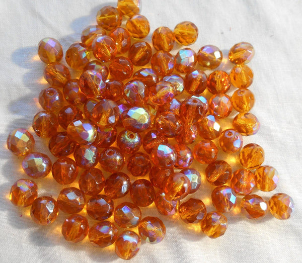 Supplies - Lot Of 25 8mm Amber AB, Faceted Round Firepolished Glass Beads, C7725