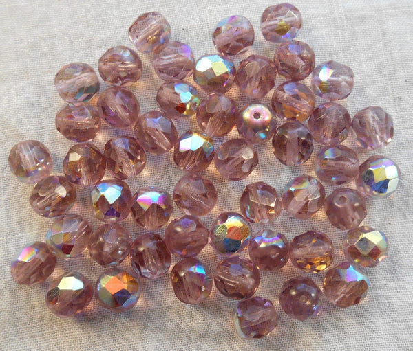 Lot of 25 8mm Light Amethyst, AB Czech glass firepolished faceted round glass beads, C1650