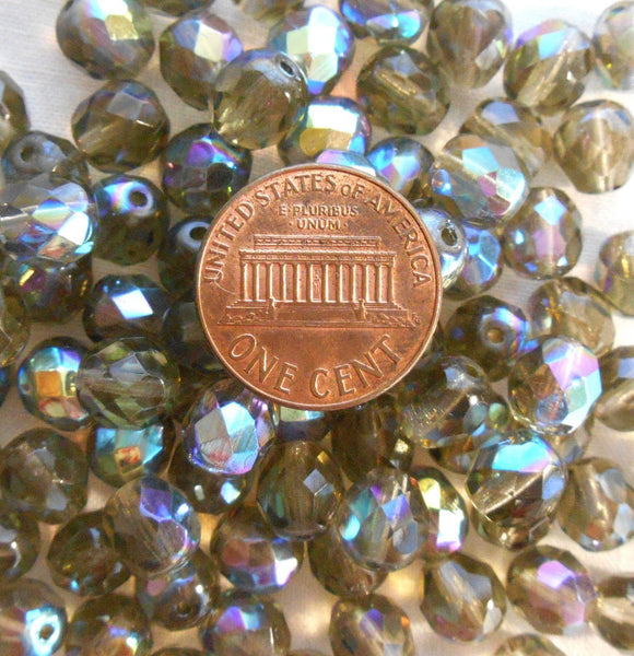 Supplies - Lot Of 25 8mm Black Diamond AB, Faceted Round Firepolished Glass Beads, C2625