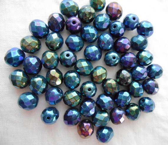 Lot of 25 8mm Blue Iris, faceted, round, firepolished glass beads, C2525 - Glorious Glass Beads