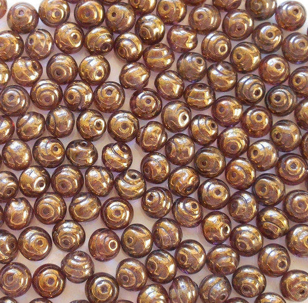 Supplies - Lot Of 25 8mm Czech Baroque Lumi Brown Iridescent Glass Snail Beads, C4425