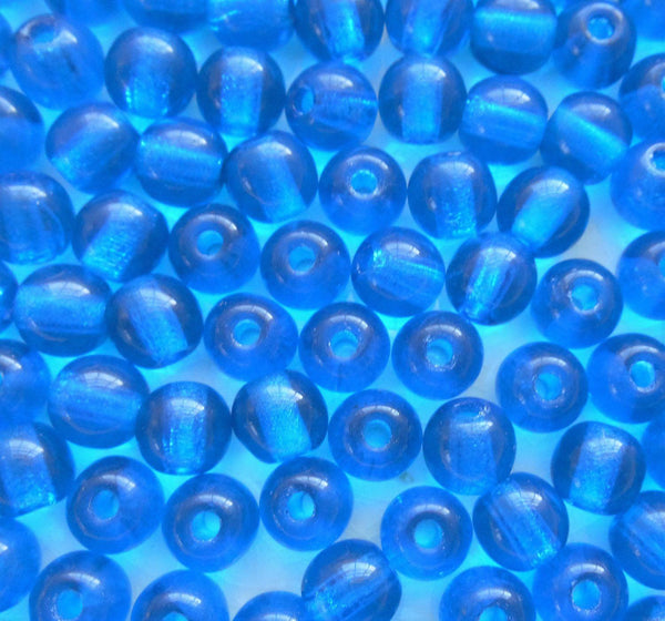 Supplies - Lot Of 25 8mm Czech Glass Big Hole Beads, Capri Blue Smooth Round Druk Beads With 2mm Holes C0401