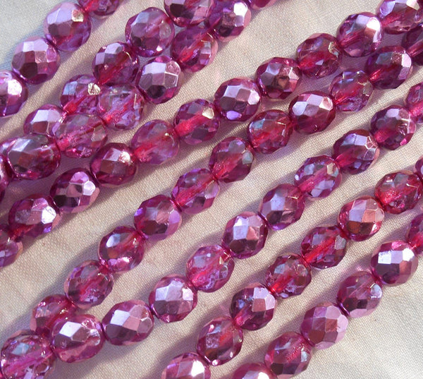 Lot of 25 8mm Pink Rose metallic Ice, faceted round firepolished glass beads, C0825 - Glorious Glass Beads