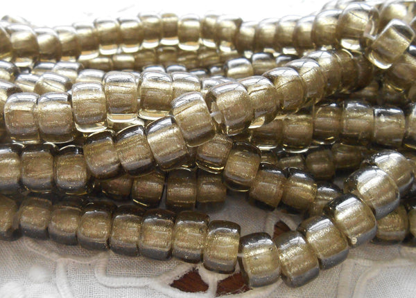 Supplies - Lot Of 25 9mm Czech Black Diamond Silver Lined Glass Pony Roller Beads, Large Hole Crow Beads, C3525